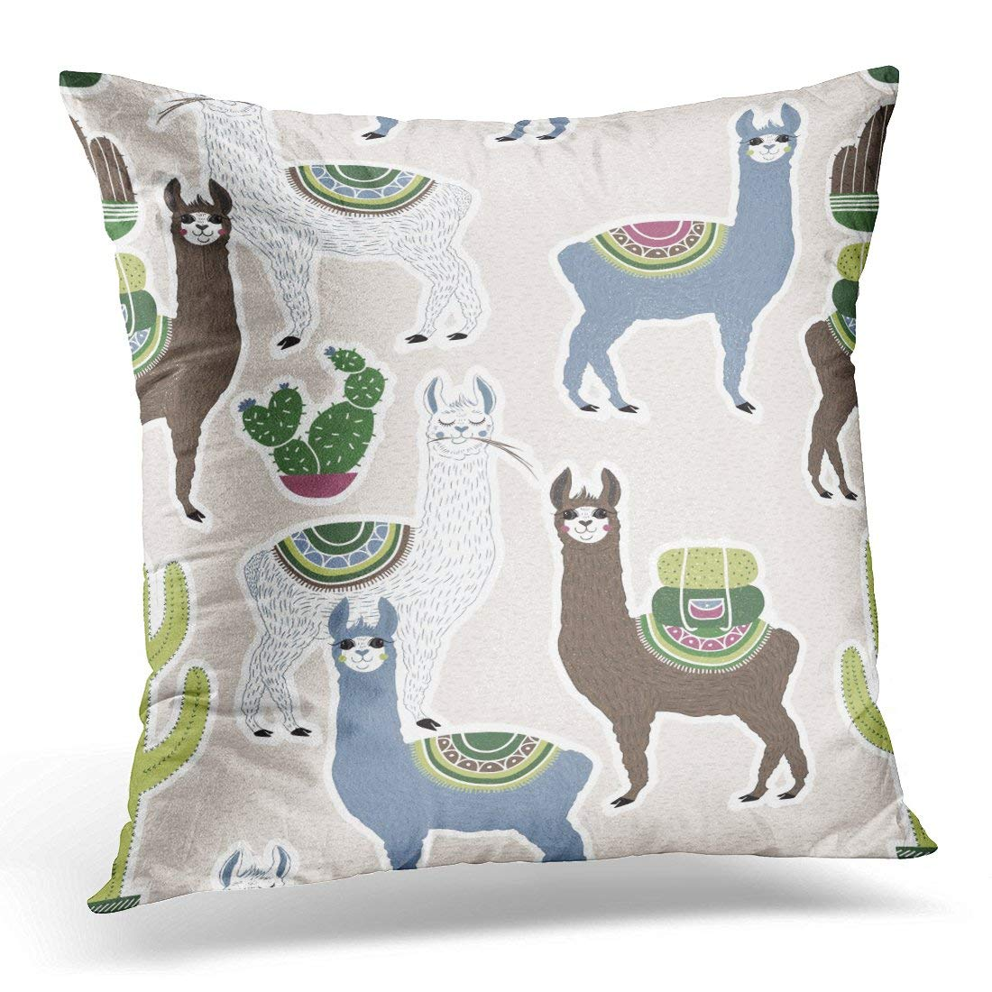 ARHOME Colorful of Sweet Llama Alpaca and Cactus Hand Draw South America's Pattern Kids Goods Cute Beige Pink Pillow Case Cushion Cover 16x16 Inches