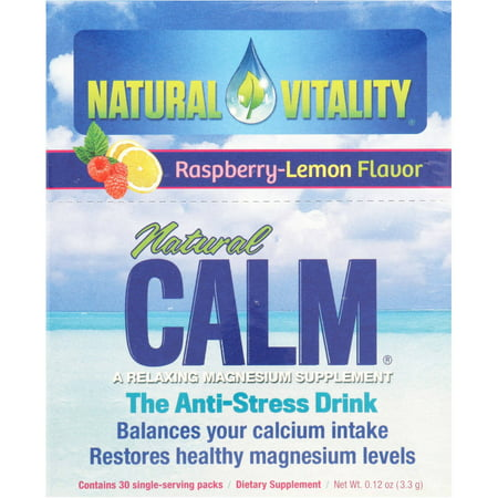 Natural Vitality Natural Calm Anti Stress Drink  Raspberry Lemon Flavor  30 Ct