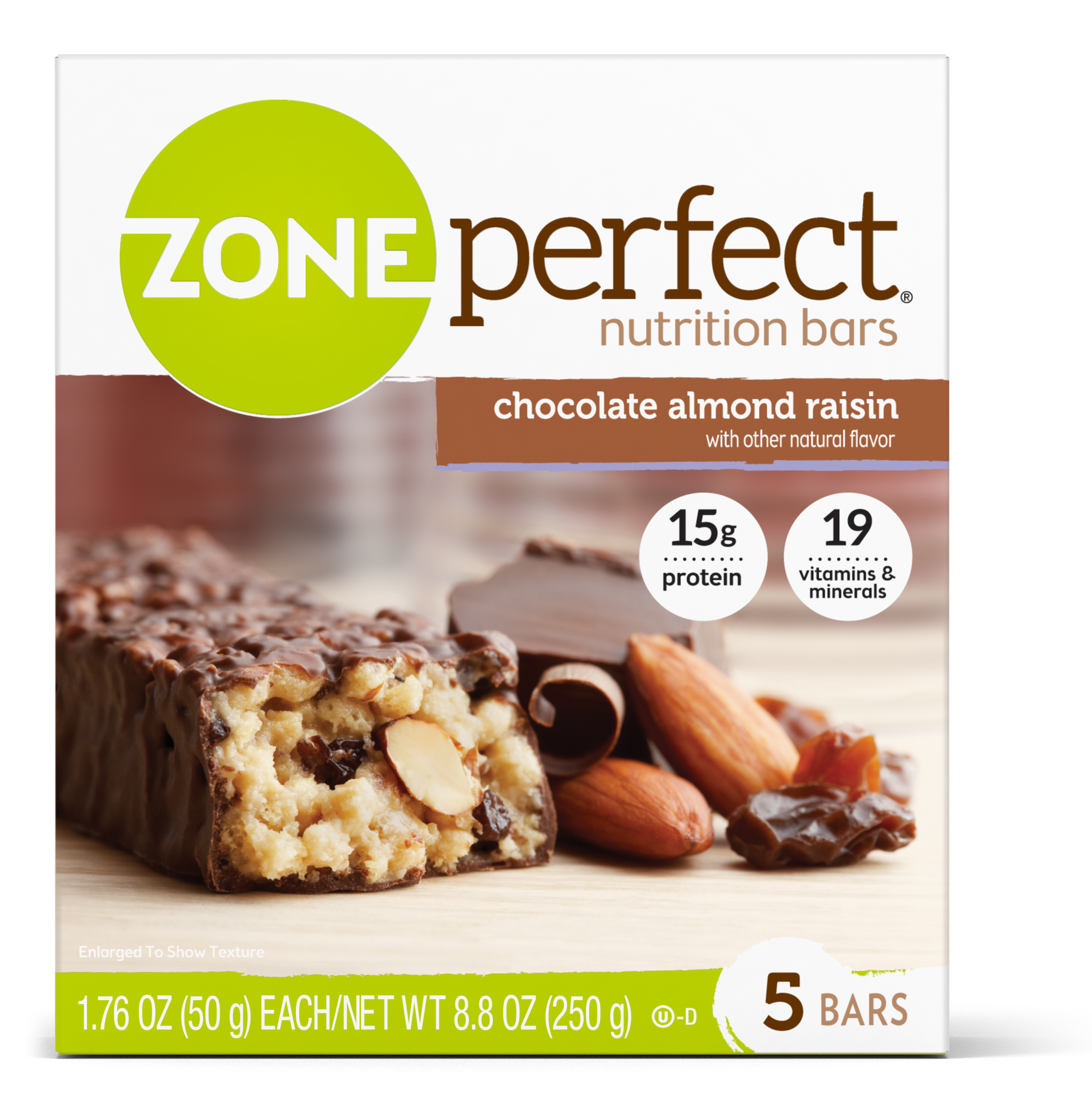 ZonePerfect Nutrition Bar, Chocolate Almond Raisin, 15g Protein, 5 Ct