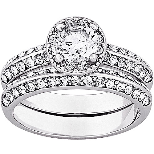 1.5 Carat T.G.W. CZ and Crystal Silver-Tone Vintage-Style Bridal Set