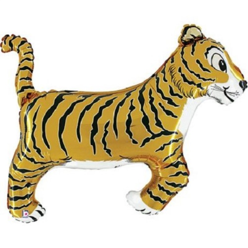 "betallic xl 41"" tiger super shape mylar foil balloon jungle safari party decoration"