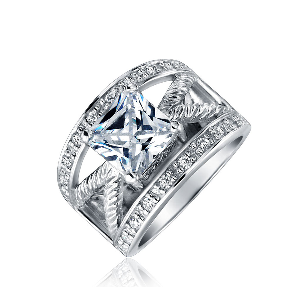 Bling Jewelry Princess Cut CZ Cable Engagement Ring 2.25ct Rhodium Plated Brass