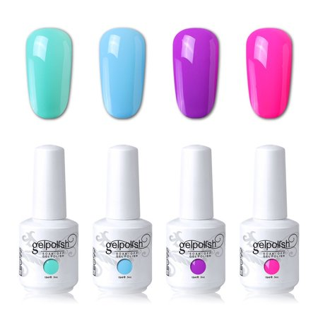 Elite99 Soak Off Gel Polish Lacquer UV LED Nail Art Manicure Kit 4 Colors Set LM-C153 + Free Gift (20pcs Gel Remover Wraps) - Nail Wraps Halloween