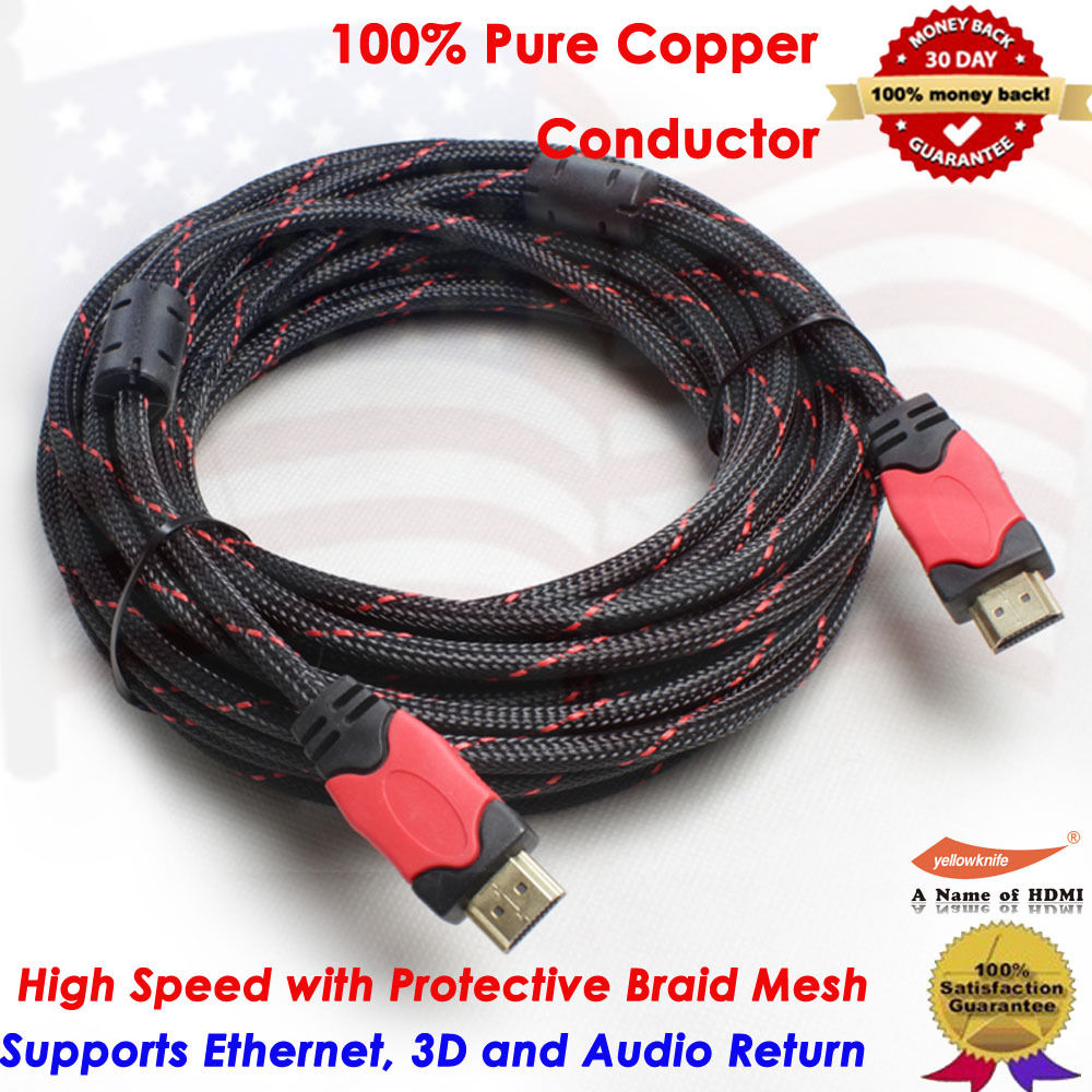 LivEditor 30FT HDMI to HDMI Cable 1080p 3D,Gold Plated Cord For DVD Player/Mac/Xbox,30 Ft - image 1 de 7