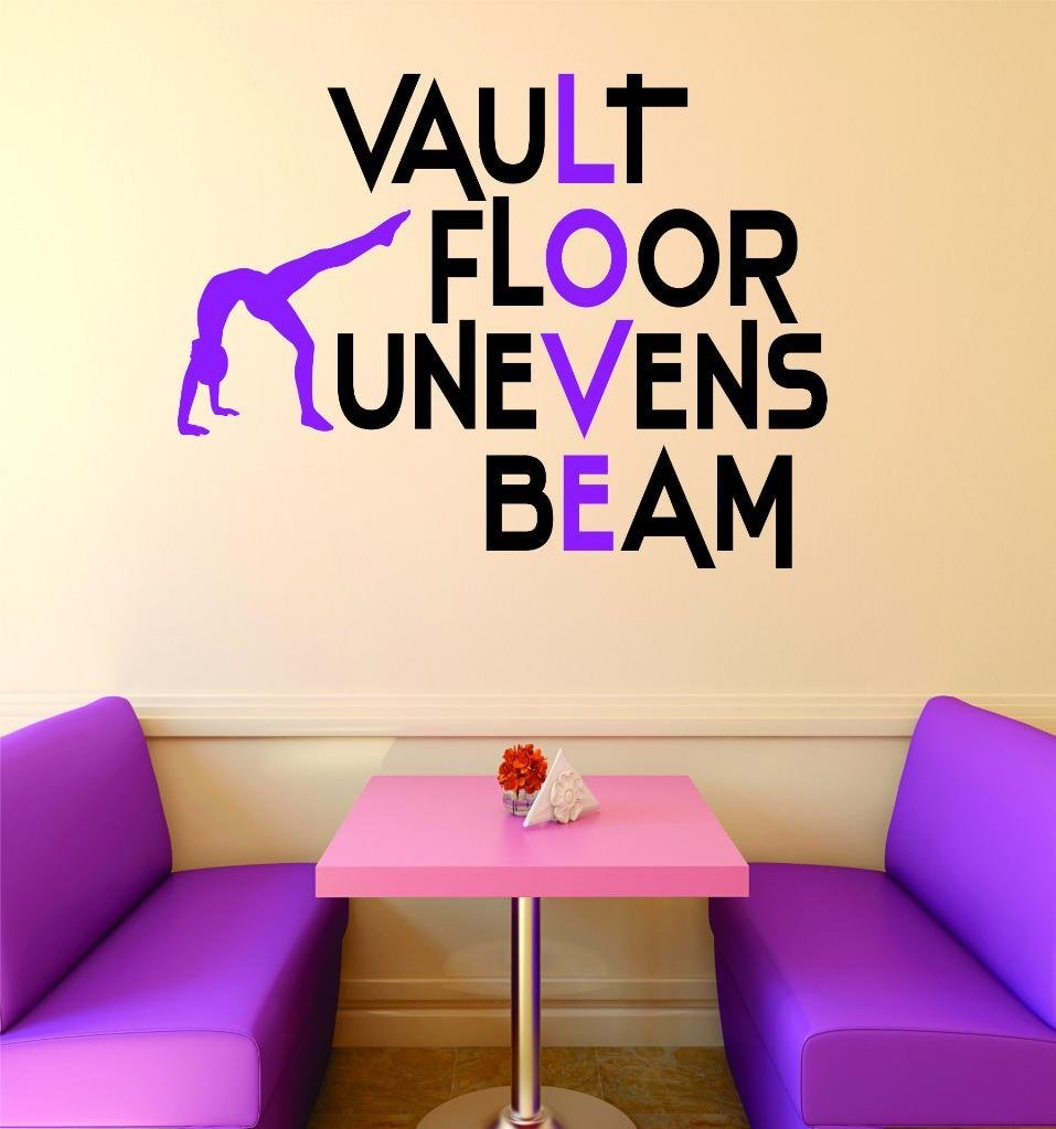 Vinyl Decal Sticker : Vault Floor Unevens Beam Gymnastics Sign Teen Girl Bedroom Decoration Picture Art Home Décor RAD 389 18 Inches X 18 Inches Multi Colored