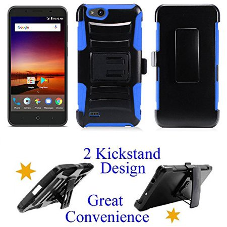 "for 5"" ZTE zFive G zFive C Tempo X Tempo GO Case Belt Clip Holster Phone Case 2 Kick Stands Hybrid Armor Shock Bumper Cover Blue"