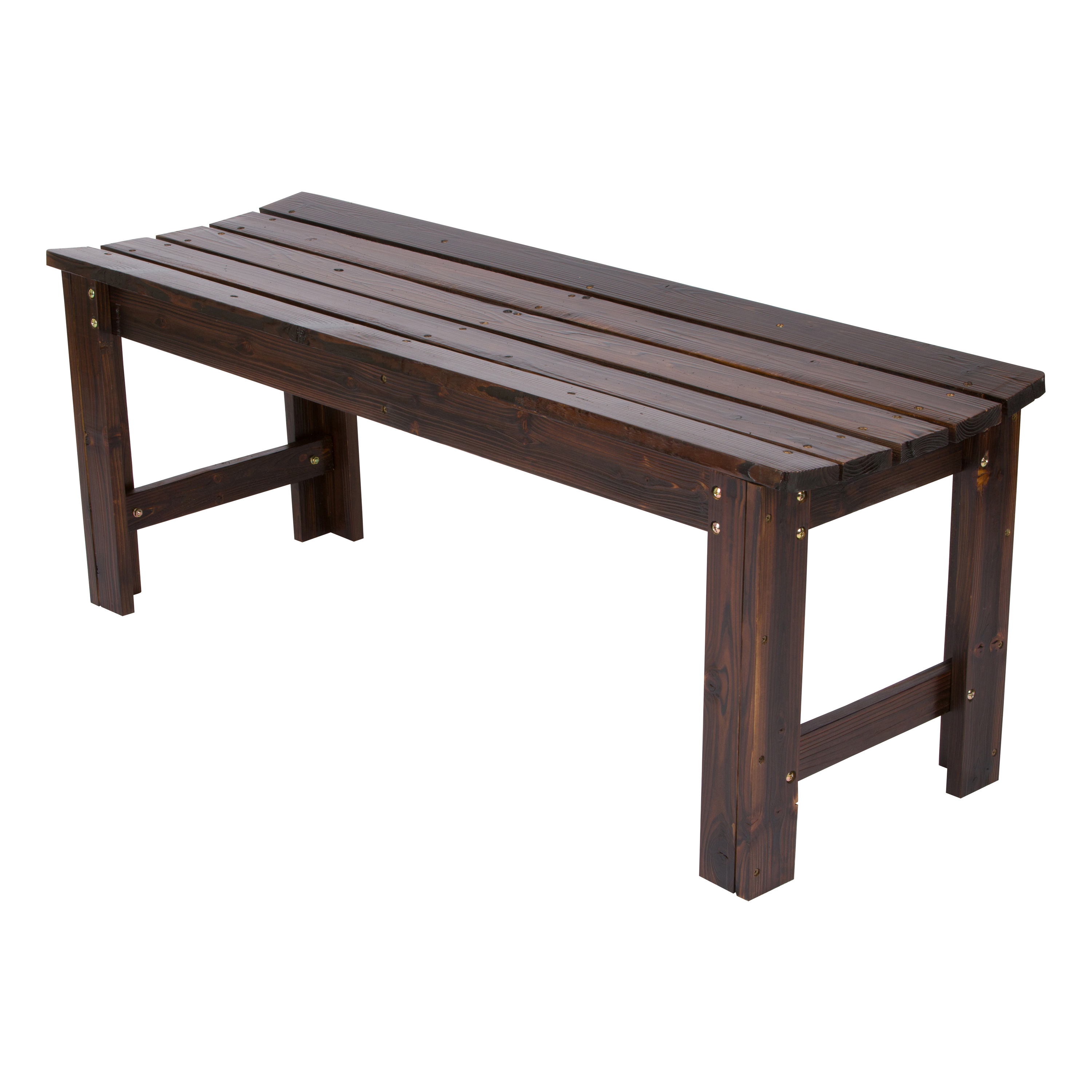 Shine Company 4 Ft. Backless Garden Bench - Burnt Brown