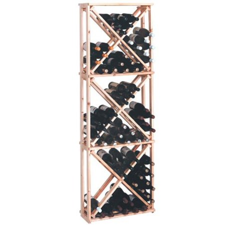 Country Pine Series 132-Bottle Wooden Open Diamond Cubes Wine Rack