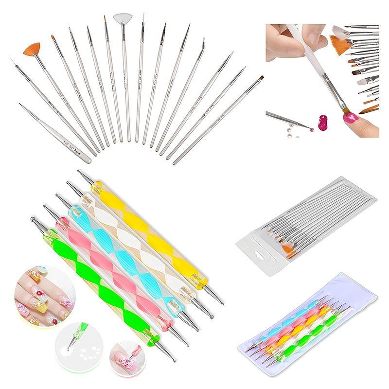 Zodaca 20pcs Pack Nail Art Design Set Dotting Painting Drawing Polish Brush Pen Tools Silver