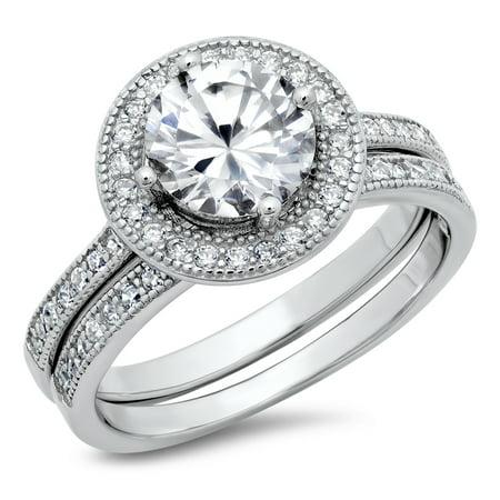 Sz 7 Sterling Silver Cubic Zirconia Halo 3.3 Carat tw Round Brilliant Cut CZ Wedding Engagement Ring Set