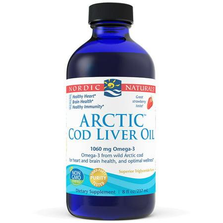 Nordic Naturals Cod Liver Oil Liquid, Strawberry, 8 (Best Supplements For Fatty Liver)