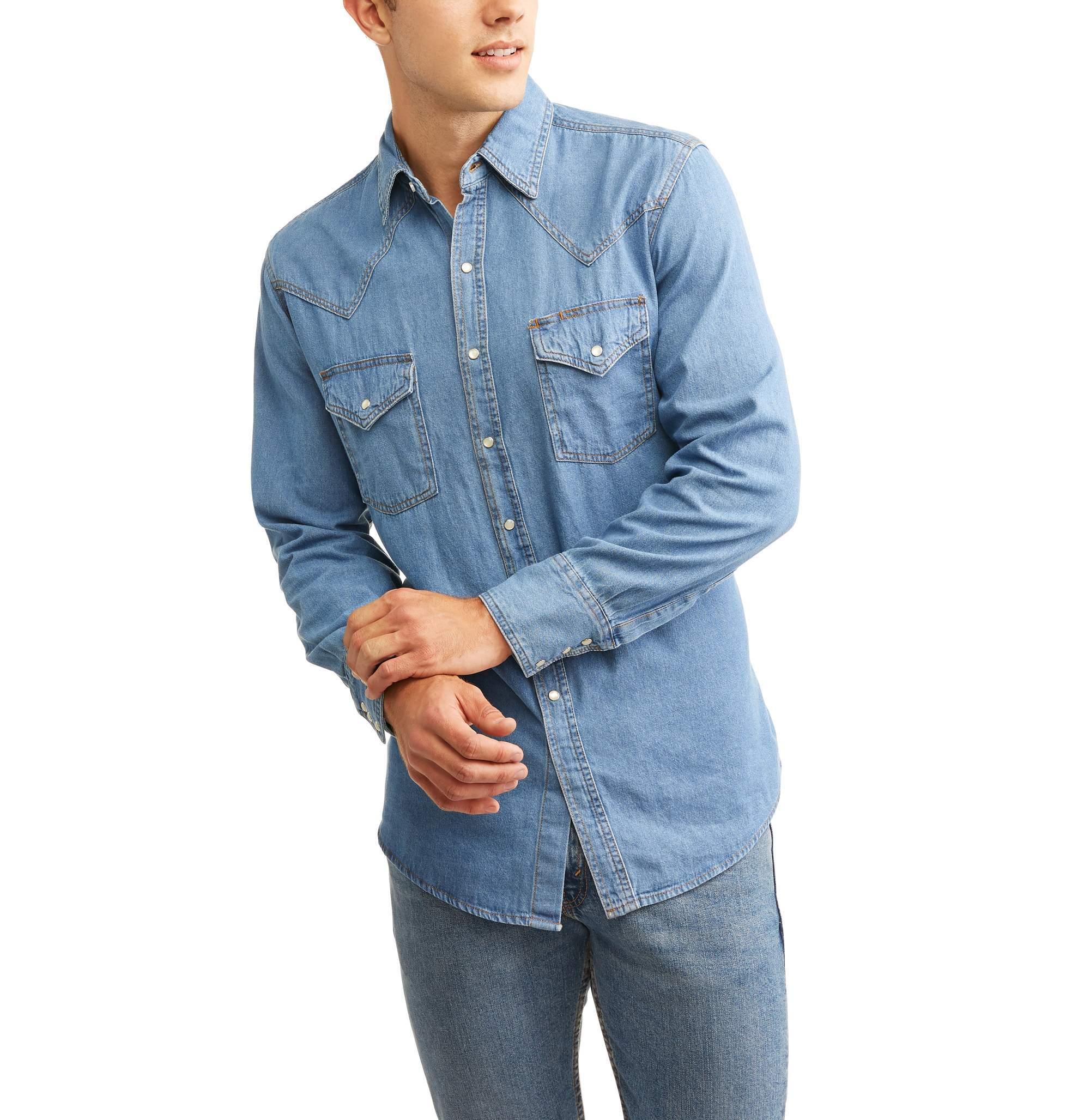 Plains Men's Big and Tall Long Sleeve Bleached Denim Western Shirt