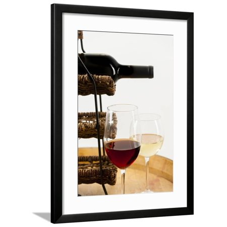USA, Washington State, Seattle. Glass of red and white wine on a barrel. Framed Print Wall Art By Richard Duval