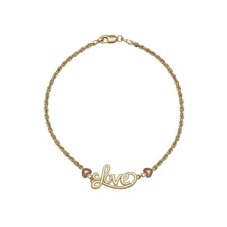 Brilliance Fine Jewelry 10K Yellow Gold Love Bracelet with Rose Gold Hearts, 7.5 B C Gold Bracelets