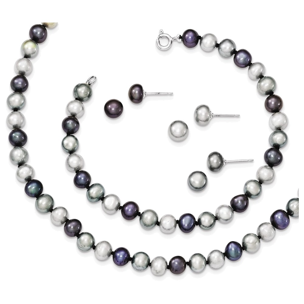 Sterling Silver Rhodium FWC Pearl Necklace 7.25 Brace & 3pc Earring Set by