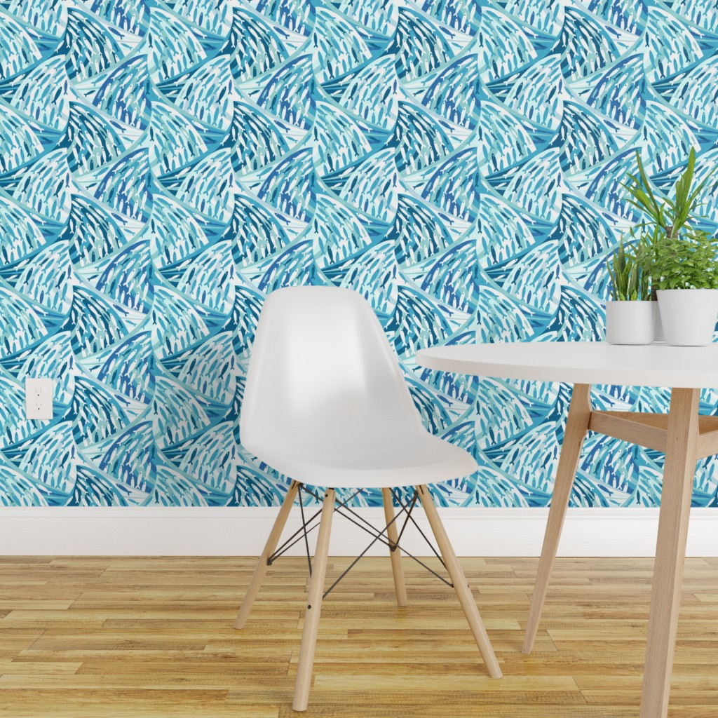 Peel-and-Stick Removable Wallpaper Blue Nautical Mod Fish ...