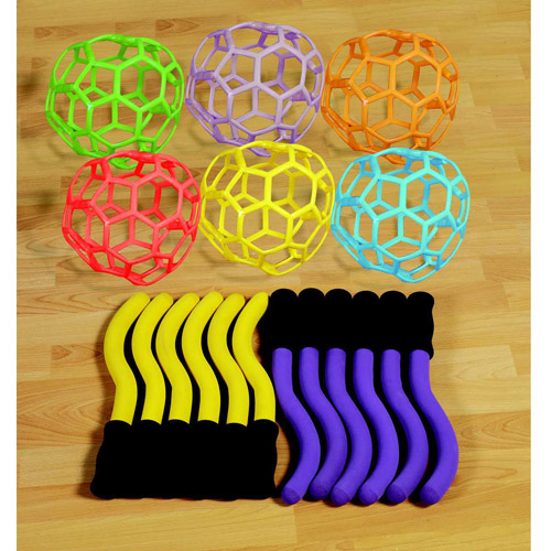 Sportime RubberFlex Foam GrabBall Set Without Balls, Assorted Color, Katch-N-Throw, Set of 12