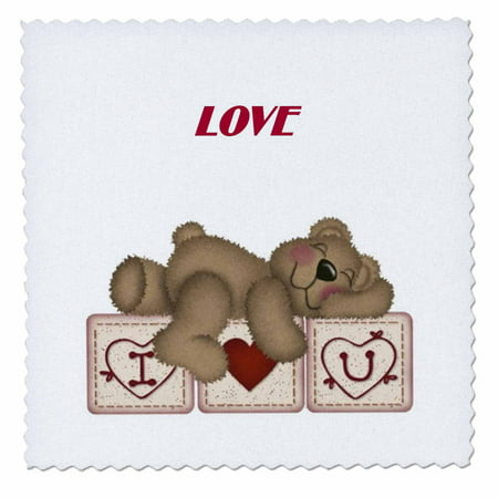 3dRose Adorable Teddy Bear On I Luv U Blocks - Quilt Square, 10 by 10-inch