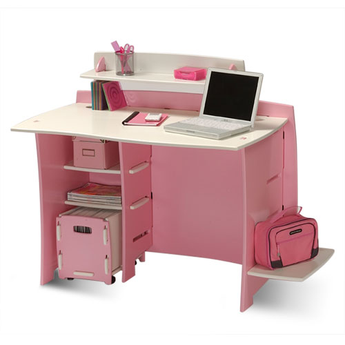 No Tools Assembly - Desk, Pink and White