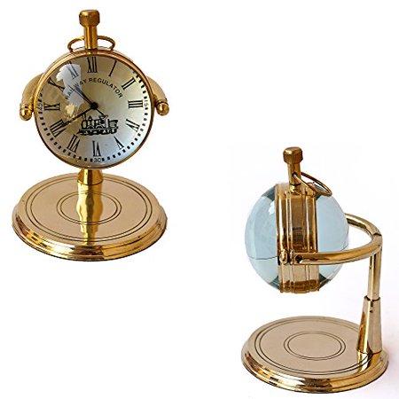 Brass Table Clock vintage marine Shiny Classic Clock Handmade design Brass Clock Chart Weight