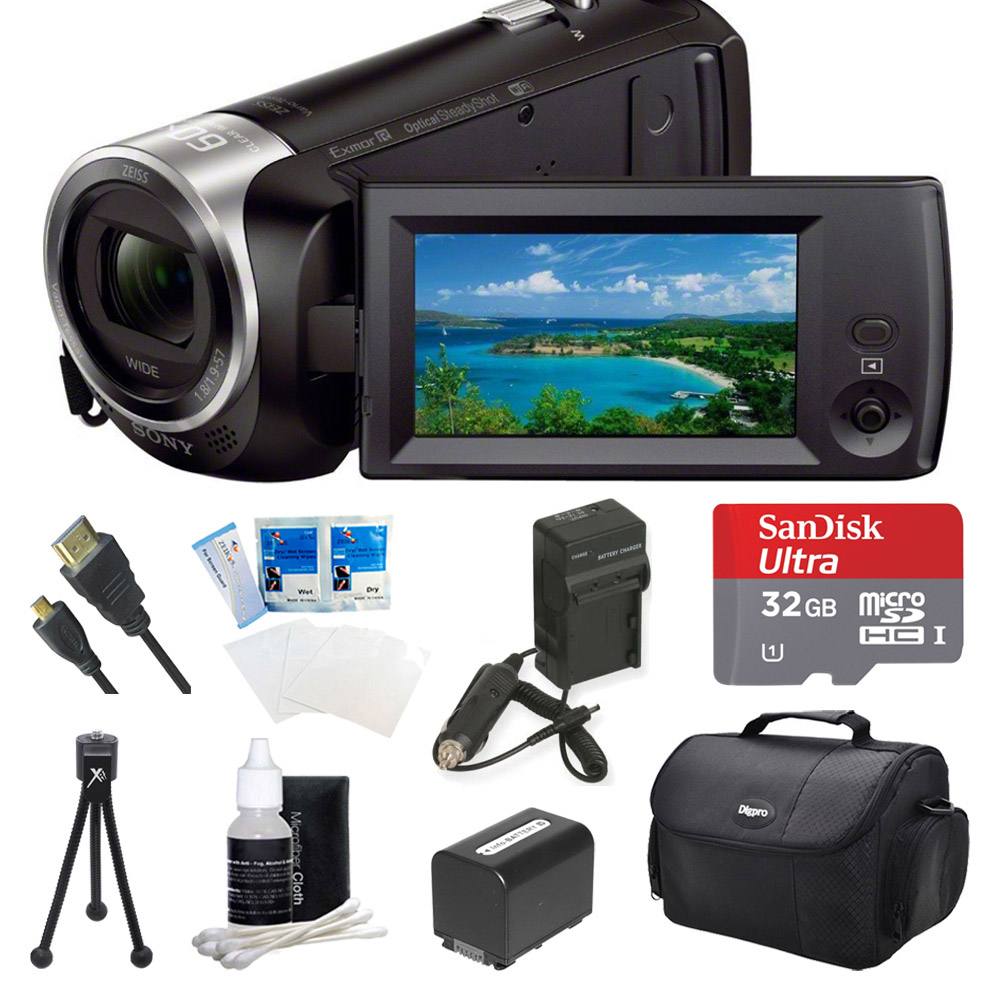 Sony HDR-CX440 HDR-CX440/B CX440 Full HD 60p Camcorder - Black Ultimate Bundle w/ 32GB MicroSDHC Memory Card, Spare High Capacity Battery, AC/DC Charger, Table top Tripod, Deluxe Case, and much more