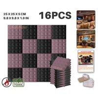 "Acepunch Black and Burgundy 9.8"" x 9.8"" x 1.9"" Pyramid Acoustic Foam Studio Sound-Absorbing Tile Panel 16 pcs"