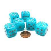 Chessex Cirrus 20mm Big D6 Dice, 6 Pieces - Aqua with Silver Pips #DC2055