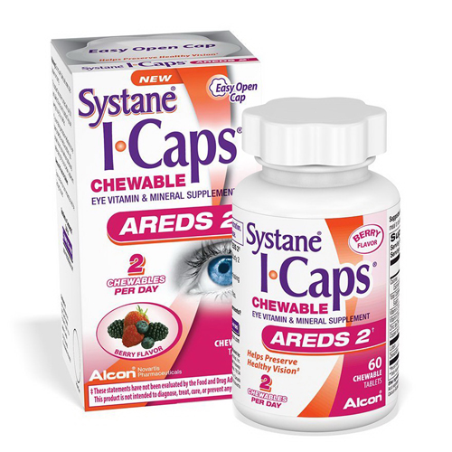 ICaps Areds2 Eye Vitamins Chewable Tablets, Berry Flavor, 60 Ea, 2 Pack