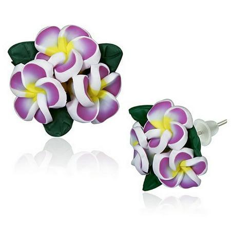 Fashion Alloy Polymer Clay Three White Hawaiian Flowers Stud Earrings