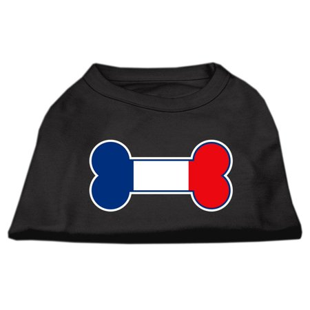 Bone Shaped France Flag Screen Print Shirts Black S 10