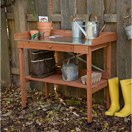 Cypress Lotus Wood Potting Bench with Metal (Cypress Wood)