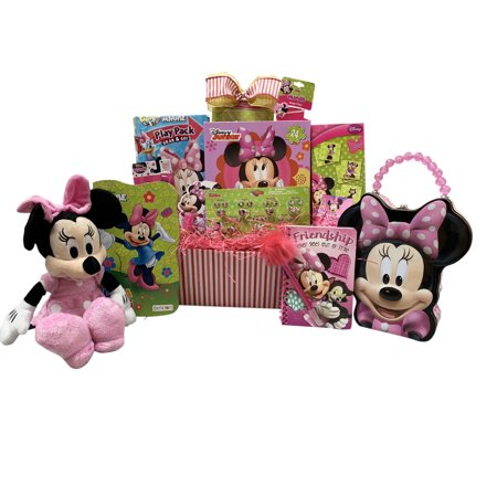 Easter Gift Basket for Kids Minnie Mouse Themed 10 Items In 1 Basket With Novelties, Jewelry, Watch, Hair Accessories, Fun and Games - Novelty Item
