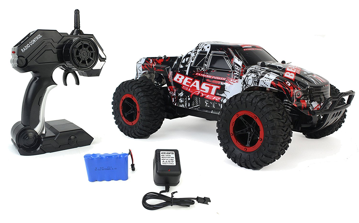 High Speed Racing Slayer Remote Control Red Toy Rally Truck RC Car 1:16 Scale Size w  Working Suspension,... by Velocity Toys