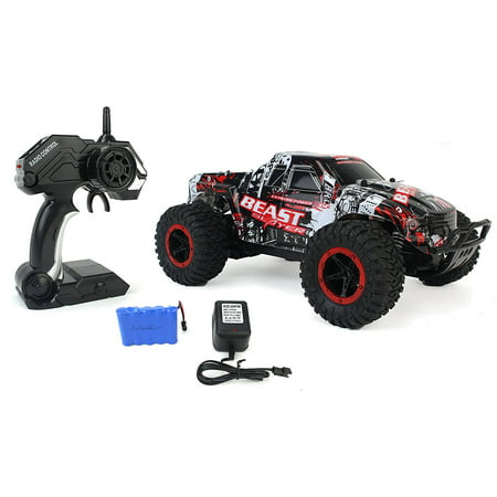 (High Speed Racing Slayer Remote Control Red Toy Rally Truck RC Car 1:16 Scale Size w/ Working Suspension, Spring Shock Absorbers)