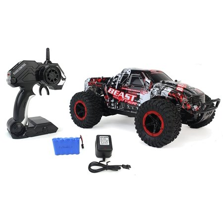 High Speed Racing Slayer Remote Control Red Toy Rally Truck RC Car 1:16 Scale Size w/ Working Suspension, Spring Shock -