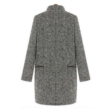 Women Collar Neck Curve Pockets Woolen Coat ()
