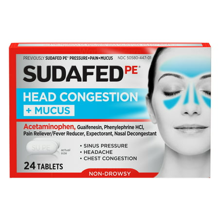 Sudafed PE Head Congestion + Mucus Non-Drowsy Relief Tablets, 24 ct