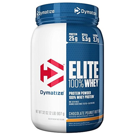 Dymatize Elite 100% Whey Protein Powder, Chocolate Peanut Butter, 25g Protein/Serving, 2 Lb