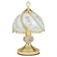 Ore International K313 White Gl Fl Touch Lamp Brushed Gold
