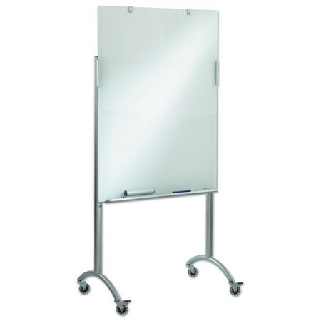Iceberg Clarity Glass Mobile Presentation Easel, 36 x 48 x 72, Glass/Steel -