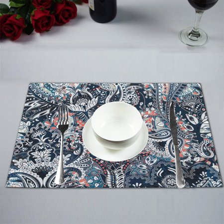 MKHERT Paisley Floral Ornamental Ethnic Black and Silver Placemats Table Mats for Dining Room Kitchen Table Decoration 12x18 inch,Set of 4