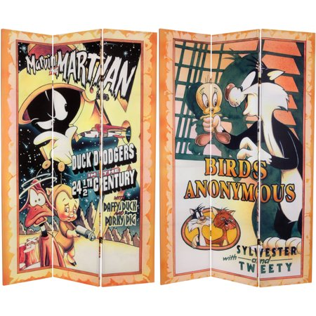 6' Tall Double Sided Tweety and Marvin the Martian Canvas Room Divider