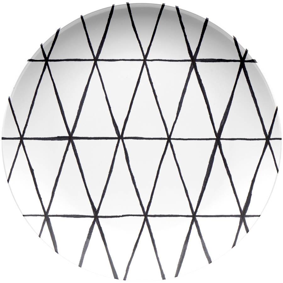 Better Homes & Gardens Mint Triangle Lines Melamine Dinner Plate, Set of 4