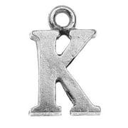 Nunn Design Alphabet Charm, Letter K 14.5mm, 1 Piece, Antiqued Silver