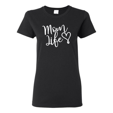 Mom Life Best Mom Mother's Day Gift Blessed Family Kids   Womens Mother's Day Graphic T-Shirt, Black, Small