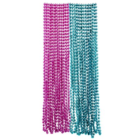 Diy Mardi Gras Beads (Mardi Gras Plastic Bead Necklaces Duo for Gender Reveal Party Favors and Decorations, Pink and Baby Blue,)