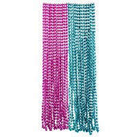 Mardi Gras Plastic Bead Necklaces Duo for Gender Reveal Party Favors and Decorations, Pink and Baby Blue, 24-Pack