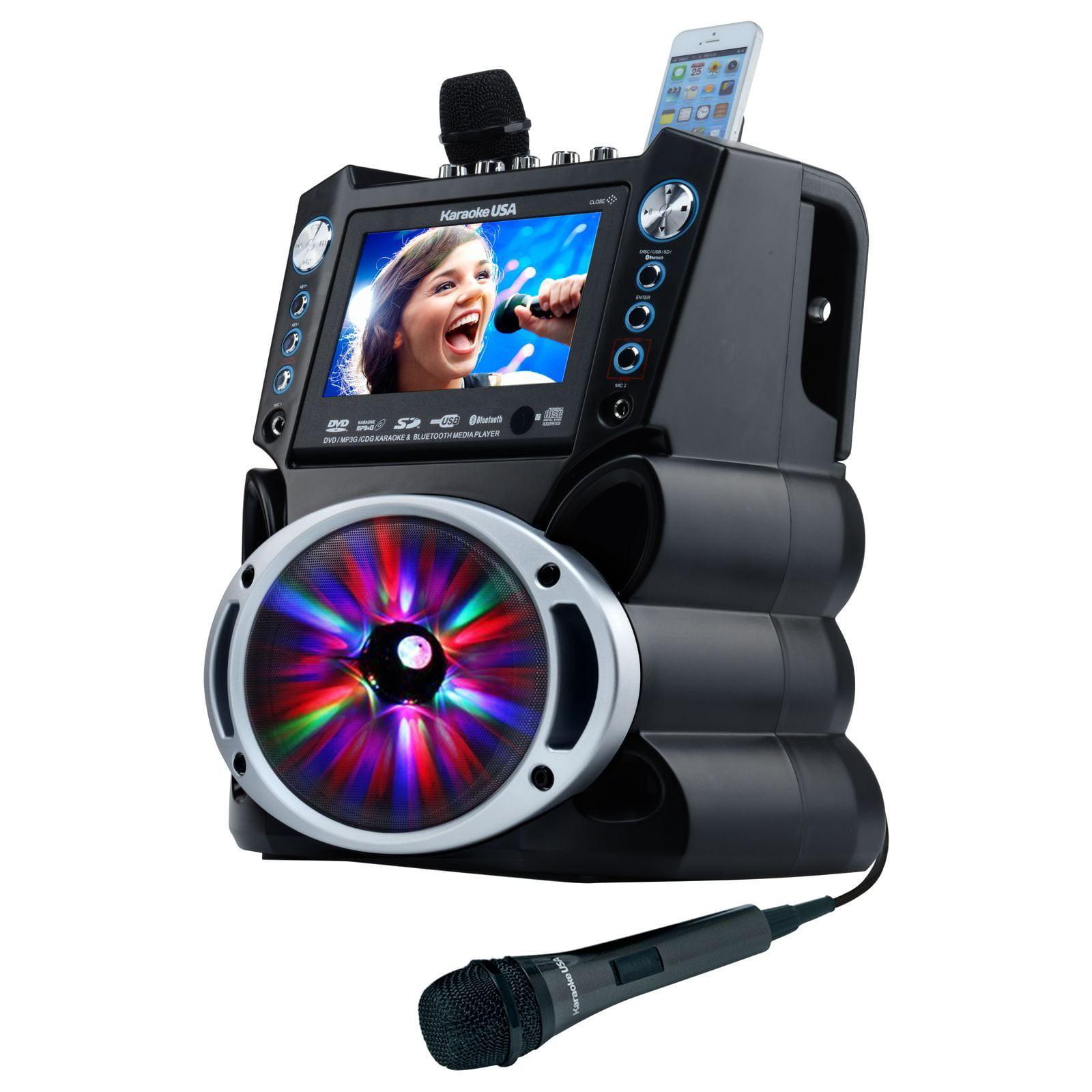 Karaoke USA GF842 Complete Bluetooth Karaoke System with LED Sync Lights- 35 Watt Power Output includes 2... by KARAOKE USA(TM)