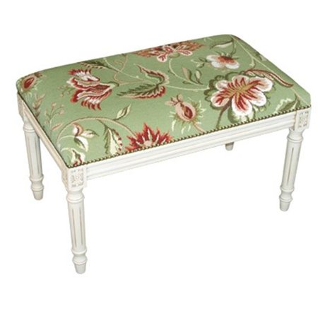 Finished Needlepoint (123 Creations C909GWBC Jacobean-Green Needlepoint Bench with White Finish)