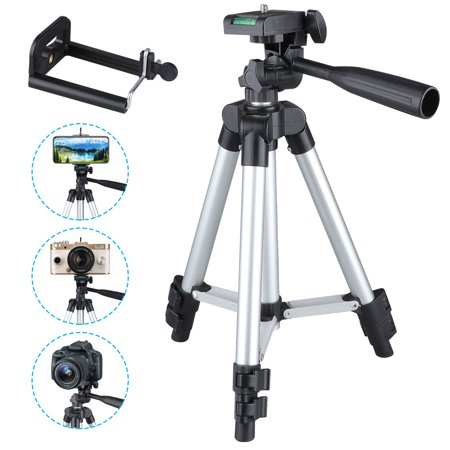Professional Camera Tripod Stand Mount + Phone Holder for Cell Phone iPhone 11/11 Pro XS XR X 8 7 6 6S Plus, Samsung S9 S8 S7 S6 Edge(Plus) Note 9 S10/S10E, LG G7/G6/V40 ()